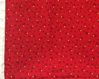 Red Floral Fabric / Red Calico Fabric / Cotton Fabric / Vintage Cotton Fabric / Cranston Print Works