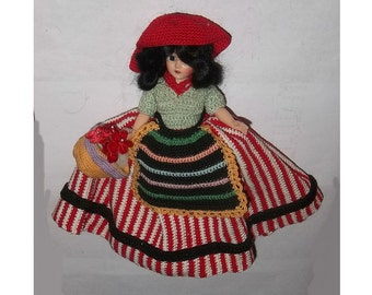 ca1950 Doll, Hand Crocheted Ethnic Dress, Alpine? Sale (box 2)