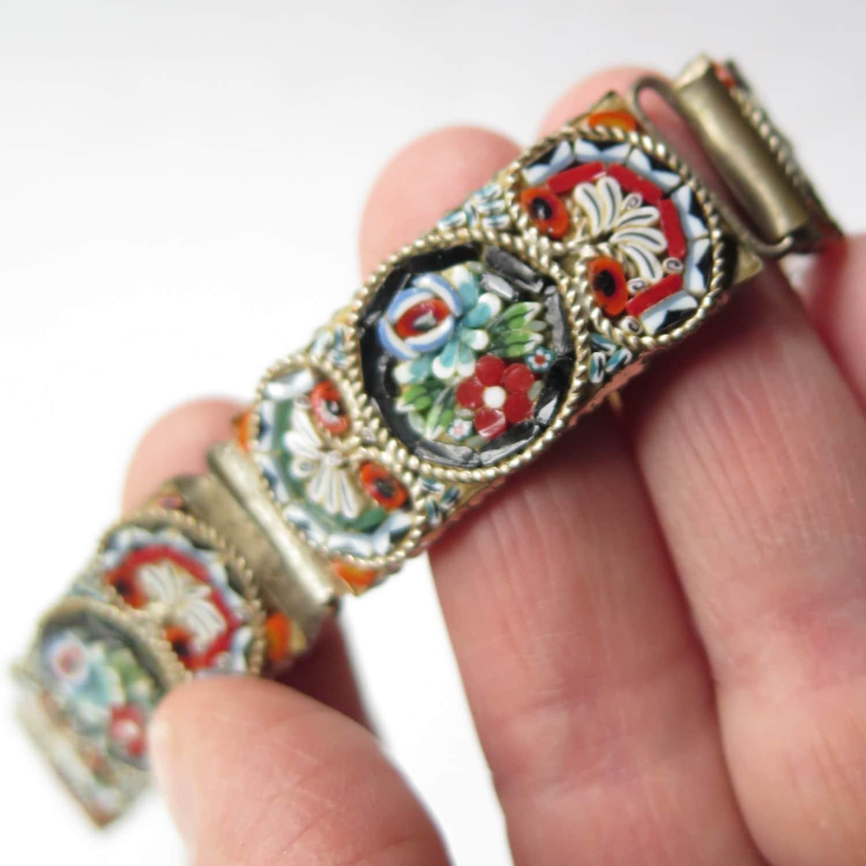 antique italian micro mosaic bracelet glass tile rose floral