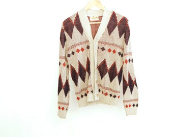 argyle BOHO CARDIGAN sweater colored pocket PREPPY wear