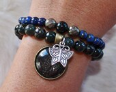REAL Butterfly Wing Charm with Astrophyllite, Lapis Lazuli & Pyrite (Size X-Small, Small, Medium or Large) Bracelet Set