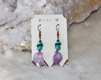 Kingman Turquoise with Amethyst Point Copper Earrings