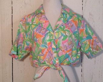 Vintage 80s 90s Tropical Crop Top, Tie Front, Cherokee