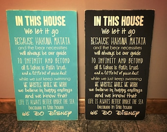In this house we do Disney sign - Disney sign, in this house sign