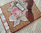 """SALE ACEO ATC one-of-a-kind Collage and Ink """"Wish"""" Artist Trading Card"""