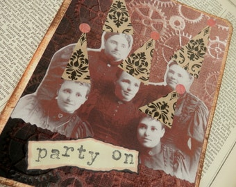 All Occasion Card Blank Inside Victorian Ladies With Party On Hats