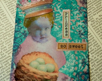 SALE ACEO ATC  One-of-a-kind Collage and Ink Princess So Sweet