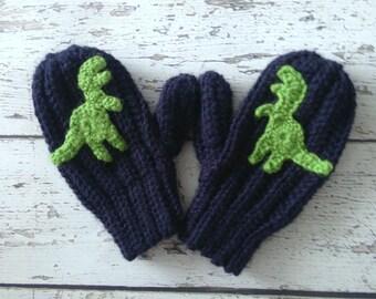 Dinosaur Mittens, Crochet T-Rex Animal Mittens, Children's Mittens, Made to Order