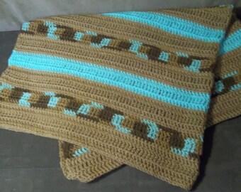 """Blue """"n"""" Brown Crochet Baby Blanket"""