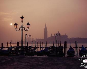 Venice, Italy Sunset Gondolas Original  Color Print
