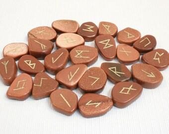 Goldstone Rune Stone Set Brown Rune Stones