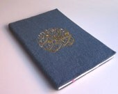 A5 Notebook, Felt Cover with Arabic Embroidery- Grey with Golden - Nour ala Nour