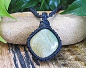 Jasper Stone Macrame Wrapped Pendant Necklace - Black Thread