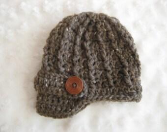 Crochet Baby Hat Newsboy brown tweed Girl Boy Photo Prop Wood Button baby girl newborn baby boy newborn