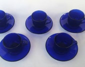 Set of Five French Cobalt Blue Mini Teacups