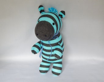 Zebra Plush Toy, Zebra Stuffed Animal, Zebra Stuffed Toy, Plushie, Sock Monkey, Sock Zebra