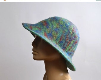 End Of Summer SALE Nuno Felted Hat - Felted Hats - Merino Wool Felted Hat - Winter Hats - Women's Hats - Large Women's Hat