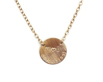 Personalized Circle Pendant Necklace - ID Necklace - Sweetheart Necklace - Monogram Necklace