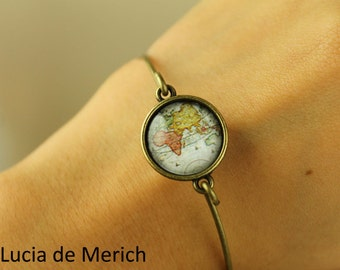 Stackable bracelet - Vintage map bracelet -Gift- Globe trotter bracelet -Around the world bracelet - coupon code -Gift idea