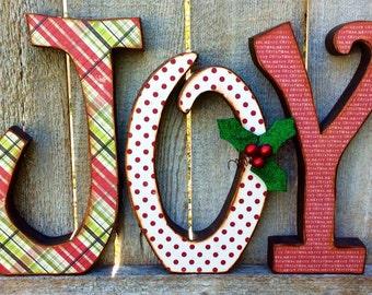 Christmas Decor Chunky Wood JOY Letters, Christmas Decor Antiqued Chunky Wood JOY Letters, Christmas Wood Letters, JOY Wood Letters