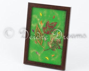 Primitive Autumn Leaves Decor, Folk Art, Fall Leaves Wall Art, Fall Leaf, Shadowbox, Diorama, Woodland Botanical Decor, Rustic Cottage Decor