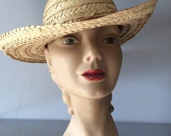 Woven Straw Vintage Men's Hat / Straw Summer Ranch Hat / Plantation  Natural Straw Hat