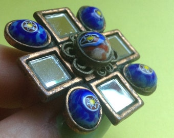 80's Upcycled Recycled Statement Ring, bronze color, mirrors / stones, gold plated adjustable ring base, faux blue lapis, OOAK, Greece