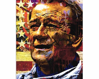 Pop Art 'John Wayne Faded Glory' by Artist Mark Lewis, Patriotic John Wayne Painting Limited Edition Giclee Print on Metal or Acrylic