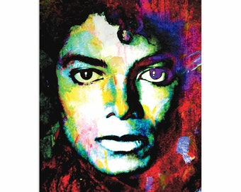 Pop Art 'Michael Jackson Study' by Artist Mark Lewis, Colorful Michael Jackson Painting Limited Edition Giclee Print on Metal or Acrylic