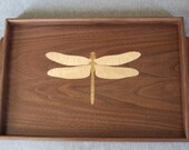 Wooden Serving Tray Handmade out of Walnut with Dragonfly Inlay