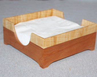 Napkin Holder Handmade out of Solid Cherry and Figured Maple - Free Shipping to USA