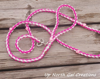 Custom Design SAMPLE Pink and White Paracord Dog Leash with Pink Hearts ,Rhinestones, Glitzy Trim on Hook, Small Dog Leash,Made in Michigan