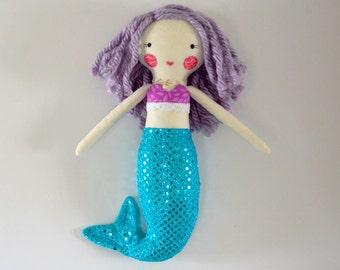 mermaid rag doll: Marine, Modern rag doll, Rosey Rag Doll