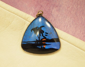 "Vintage Morpho Butterfly Wing Pendant / Charm - Hand Painted Tropical Sunset - Silver Metal Frame - 1"" triangle"