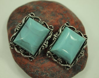 """Vintage Turquoise Earrings - Clip On - Faux Turquoise Stones - Silver Plated Metal Filigree Frames - Non-Pierced Earrings - 1.25"""" x 1  1/8"""""""