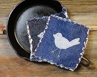 Blue Jeans Potholders - Blue Bird Denim Hot Pads - The Best Pot holders Ever