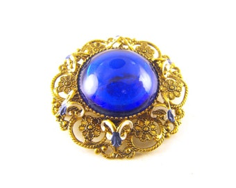 Vintage Brooch Renaissance Revival Style Rococo Posies Blue and White Rams Head Surround W. German Style