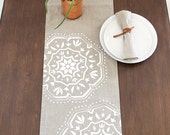 Moroccan Tile Modern LInen Table runner - Natural / White
