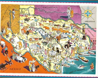 Texas Map Art / Old Map of Texas Decor / 1930s Vintage Map Art / Antique Map Wall Art / Dallas, Houston, and Austin TX / Colorful Pictograph