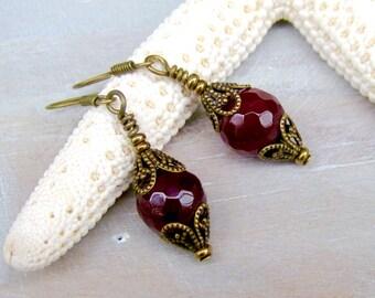 Earrings Antique Gold Red Jade beads Bohemian Boho Chic
