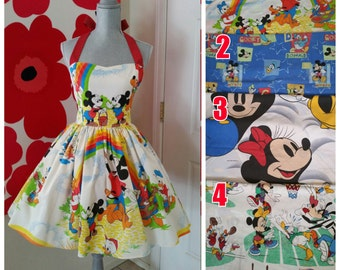Custom Made to Order Disney mickey  Sweet Heart Dress Sz X-Small to 3X