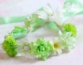 baby flower crown, green floral crown, flower girl flower crown, baby floral headband, floral headband for babies, flower headband