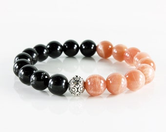 Gemstone Bracelet, Black Tourmaline, Peach Moonstone, stretchable, silver focal, semi-precious, natural stones, Stackable, gift for her,3220