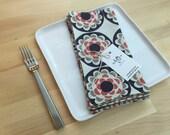set of 4  reversible cotton napkins, orange, gray, modern, kitchen gift, housewarming, hostess gift
