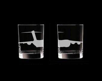 C-17 Globemaster Set of 2 Scotch Whiskey Glasses Air Force aircraft