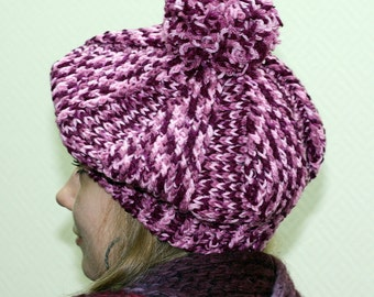Crochet handmade purple colorful hat, beret, winter hat, winter beret, demi cap.