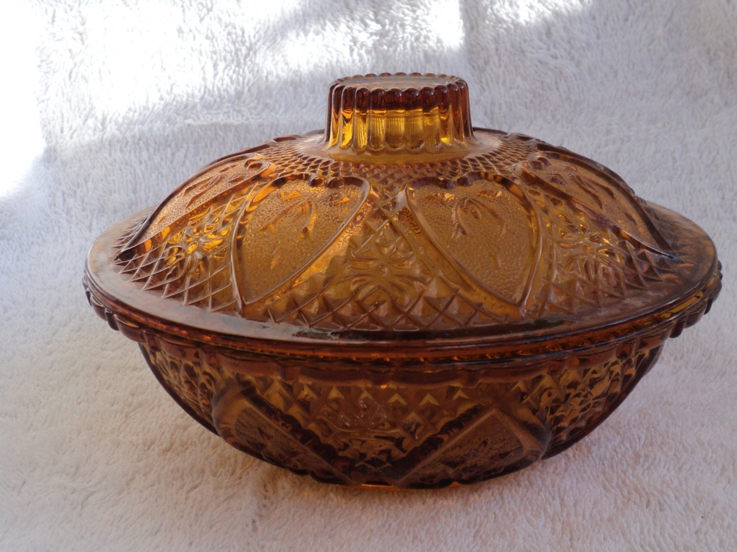 Vintage Red Amber Candy Dish Covered Jar Depression Glass