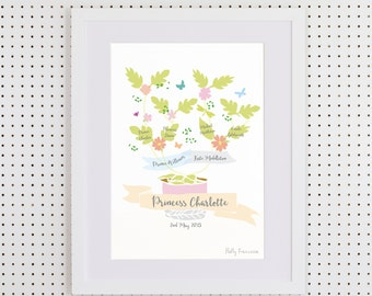 Your own family tree - Art Print (Floral version)