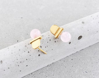 Rose Quartz Gemstone Arch Studs / 14k gold vermeil / architectural jewelry / blush, lapis, malachite, green aventurine / Mother's Day