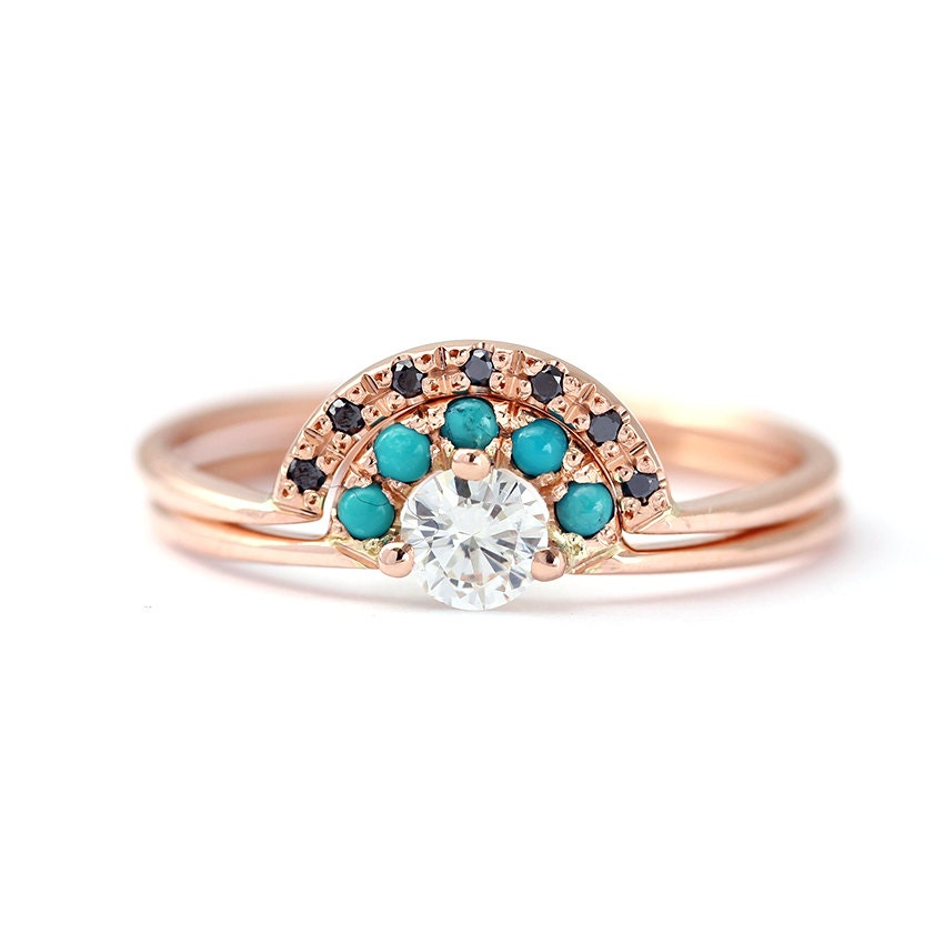 Diamond Ring With Turquoise And Black Diamond Wedding By